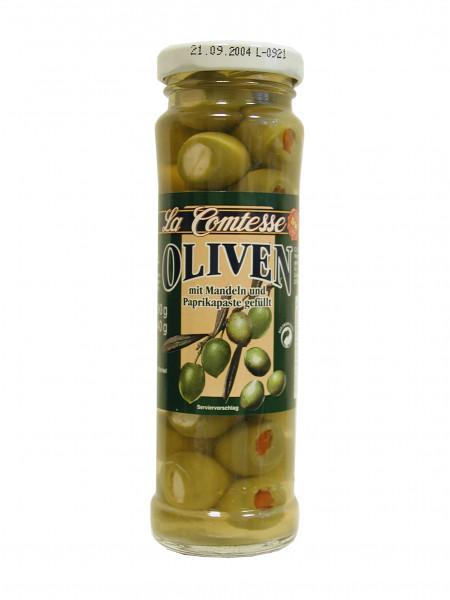 Grüne Oliven mit Mandeln & Paprika, handpack, 140 g
