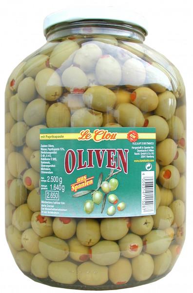 Grüne Oliven mit Paprika, 2500 g