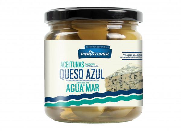 SALE! grüne Gordal Oliven mit Blauschimmelkäse-Paste und Meerwasser, extra groß, 370 g MHD 30.06.202