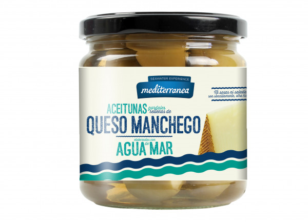 SALE! grüne Gordal Oliven mit Manchegokäse-Paste und Meerwasser, extra groß, 370 g MHD 30.06.2021