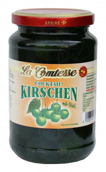 Cocktail-Kirschen grün mit Stiel, 390 g
