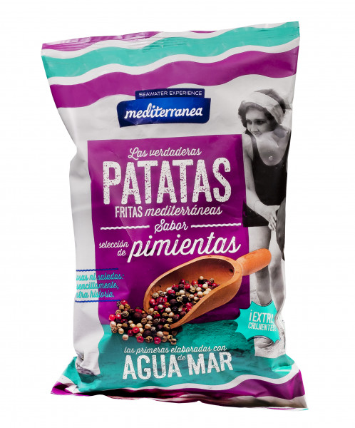 Kartoffel-Chips mit 4er-lei Pfeffer und mit Meerwasser gesalzen, 130 g