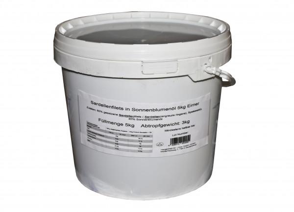 Sardellenfilets in Sonnenblumen Öl, 5 kg