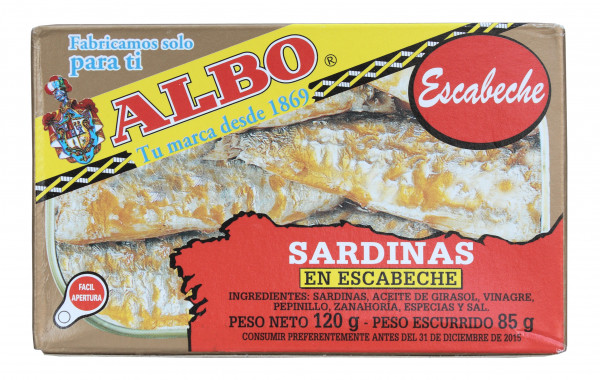 Sardinen Escabeche mit Haut und mit Gräten, 120 g
