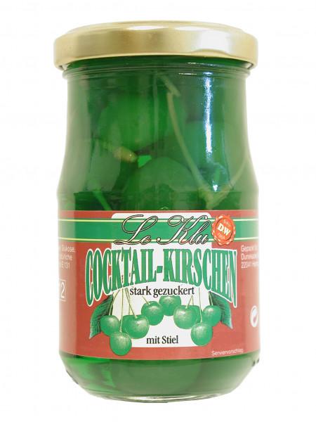 Cocktail-Kirschen, grün mit Stiel, 225 g