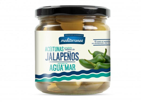 grüne Gordal Oliven mit Jalapeno-Paste und Meerwasser, extra groß, 370 g