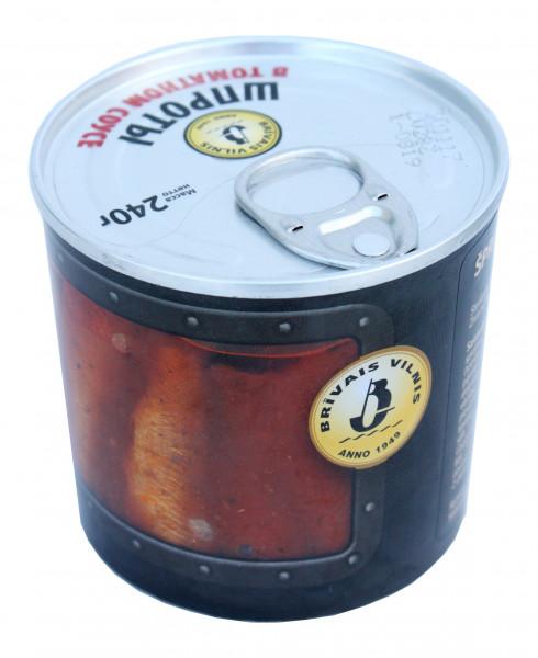 SALE! geräucherte Riga Sprotten in Tomaten-Sauce, 240 g MHD 13.03.2021