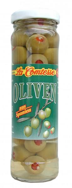 Grüne Oliven mit Paprika, handpack, 140 g