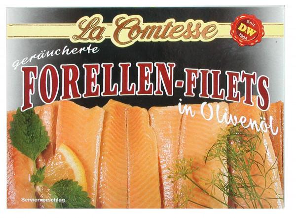 geräucherte Forellenfilets in Oliven-Öl, 105 g