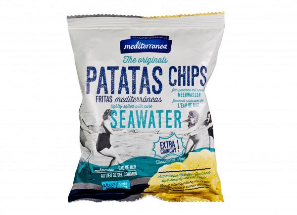 Kartoffel-Chips mit Meerwasser gesalzen und in Oliven-Öl gebacken, 50 g